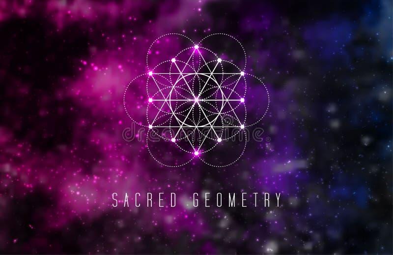 在抽象宇宙背景的神圣的几何传染媒介设计元素 向量例证