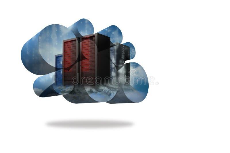 在抽象屏幕上的服务器塔 向量例证