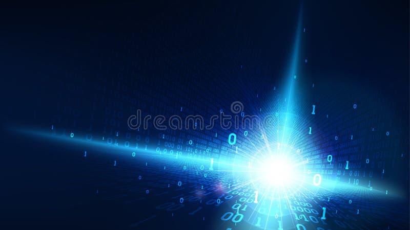 在抽象未来派网际空间,发光与数字代码,大数据人工智能的矩阵的二进制编码蓝色背景 库存例证