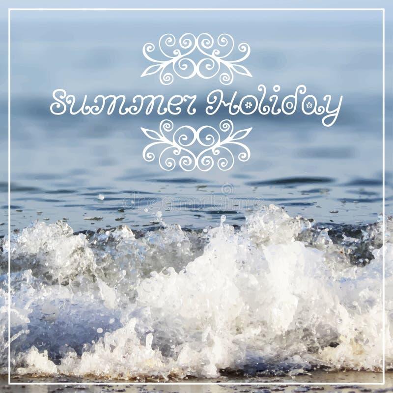 在抽象模糊的海的暑假字法 皇族释放例证