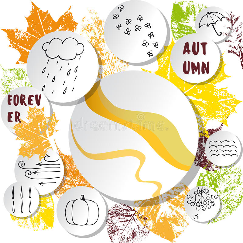 在抽象秋季叶子背景的白皮书贴纸 库存例证