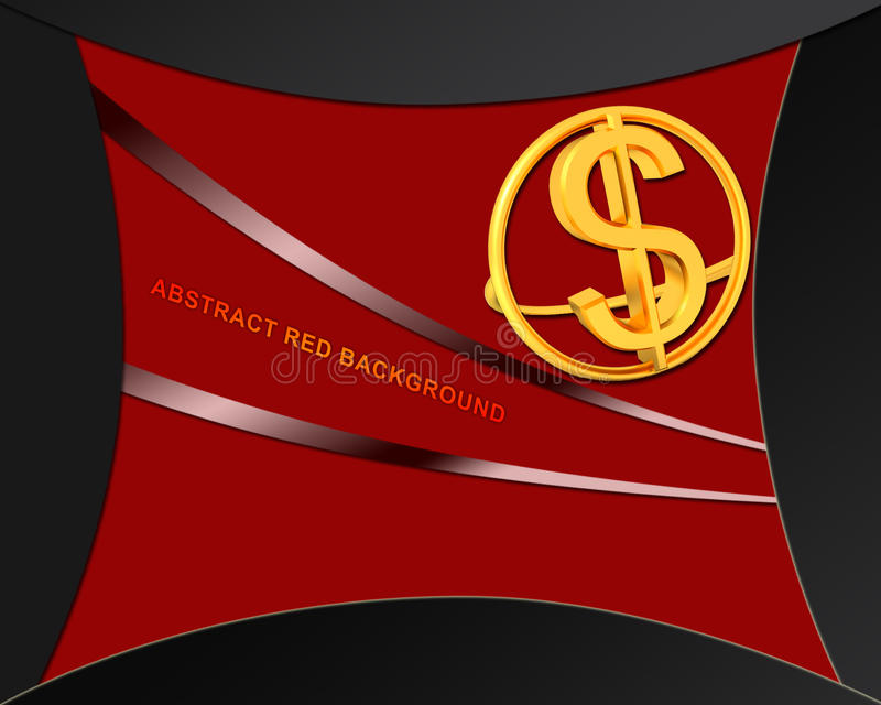 在抽象红色背景的美元图标 库存例证