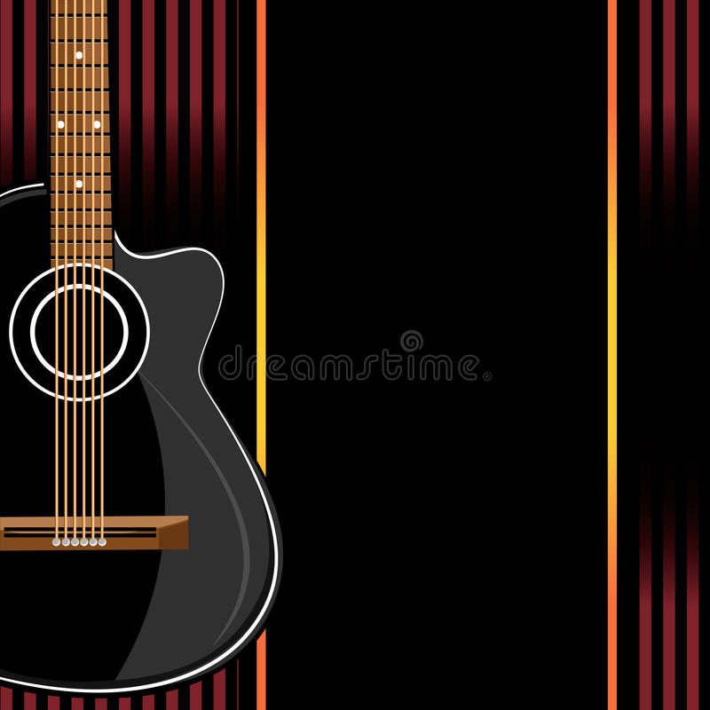 在抽象背景的声学吉他 向量例证