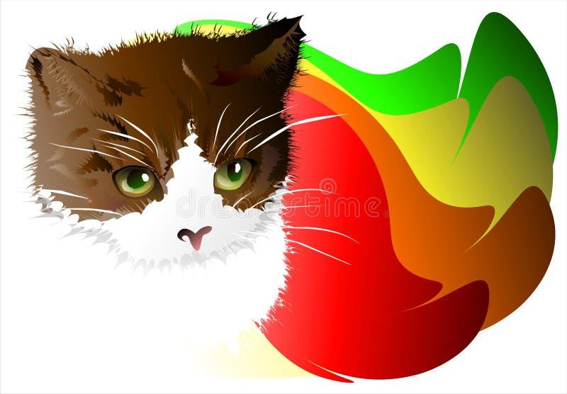 在抽象背景的小猫。02 (传染媒介) 库存例证