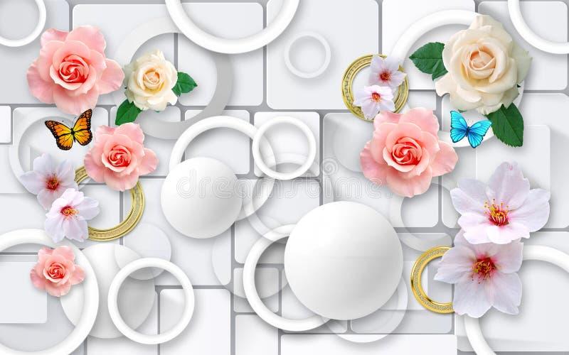 在抽象背景的花 3D墙壁的墙纸 3d回报 皇族释放例证