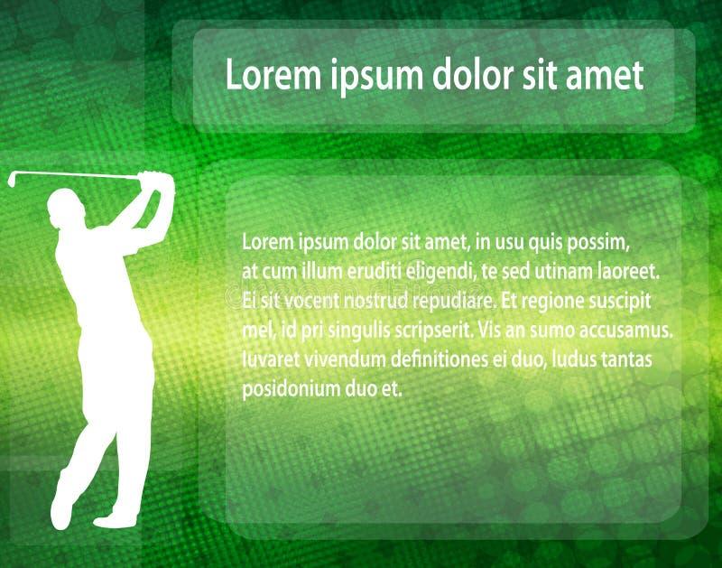 在抽象背景的高尔夫球运动员剪影与文本的空间 向量例证