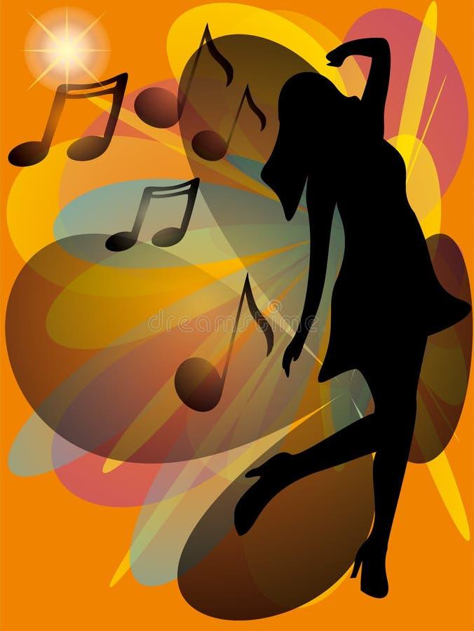 在抽象葡萄酒背景的女孩跳舞 库存例证
