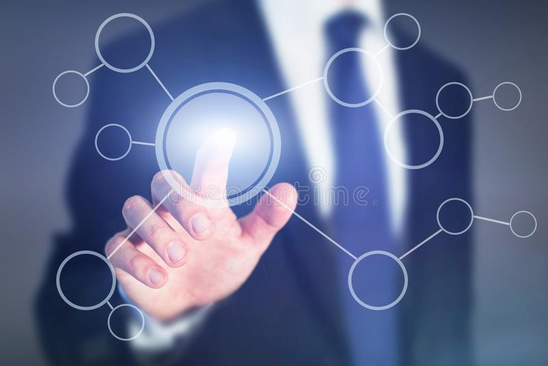 在抽象触摸屏上的流程图,商业运作计划 库存图片