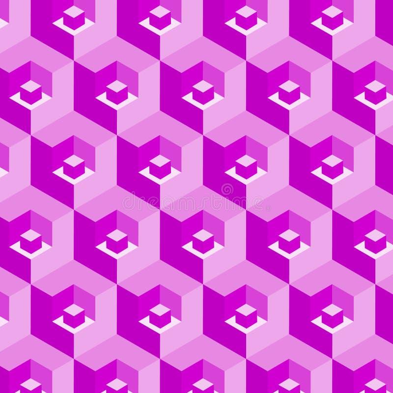 在抽象重复的样式的桃红色3D立方体 向量例证