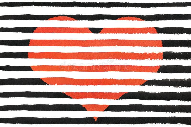在抽象黑刷子冲程的红色水彩难看的东西心脏支持 皇族释放例证
