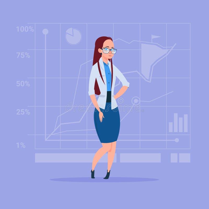 在抽象财政图表背景成功的女实业家的女商人 库存例证