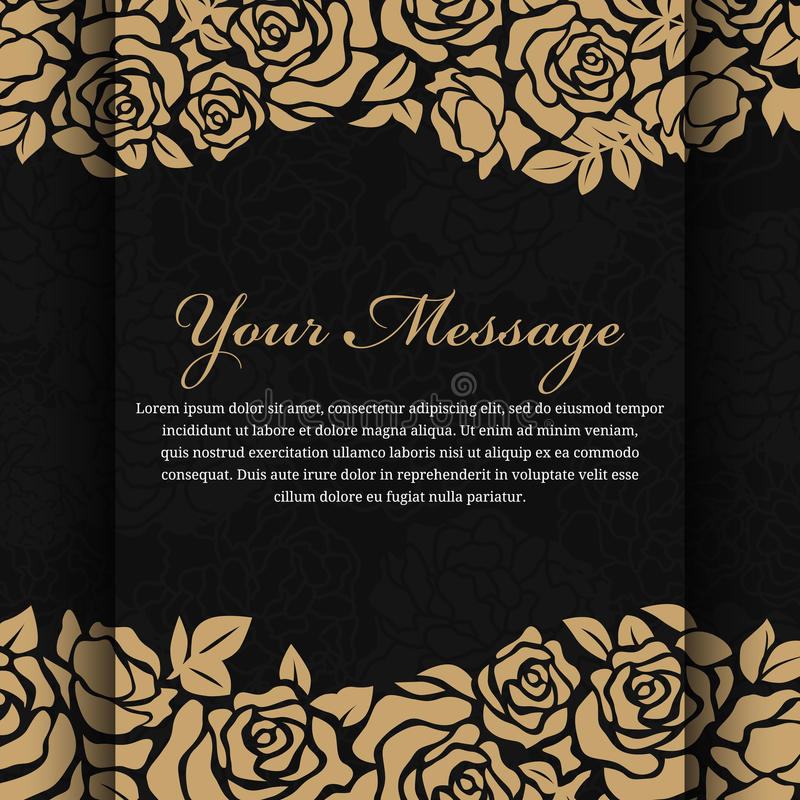 在抽象黑背景传染媒介设计的金玫瑰色花 向量例证