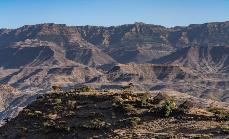 在拉利贝拉,埃塞俄比亚,非洲附近的风景 免版税库存图片