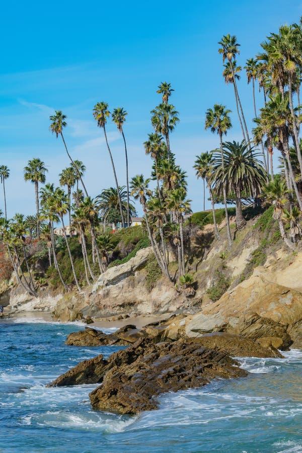 在拉古纳海滩附近的吻合风景 免版税库存照片