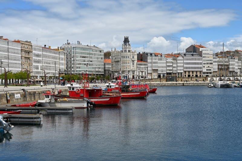 在拉科鲁尼亚,西班牙的海湾 免版税库存照片