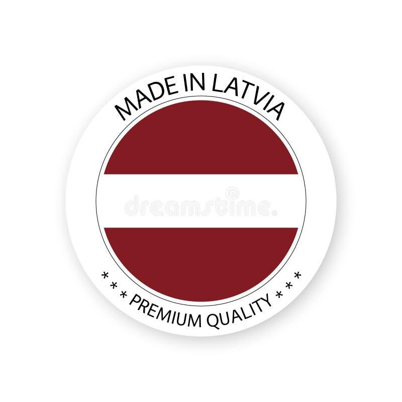 在拉脱维亚标签做的现代传染媒介被隔绝在白色背景 向量例证