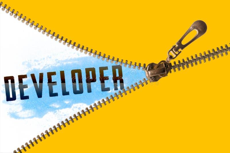 在拉链下的开发商词 库存照片