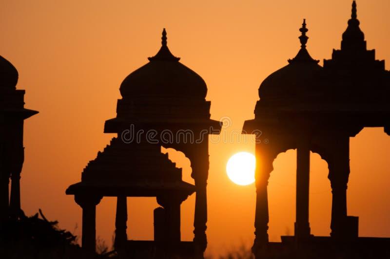 在拉贾斯坦寺庙的日落 免版税图库摄影