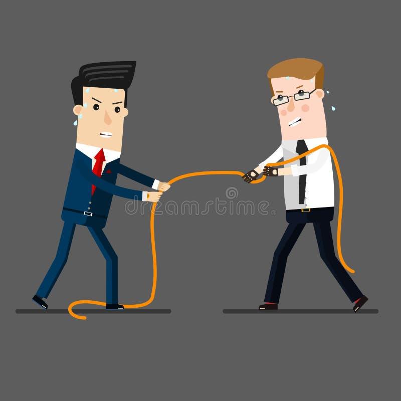 在拔河的两个商人为领导或企业竞争作战, 企业概念动画片例证 库存例证