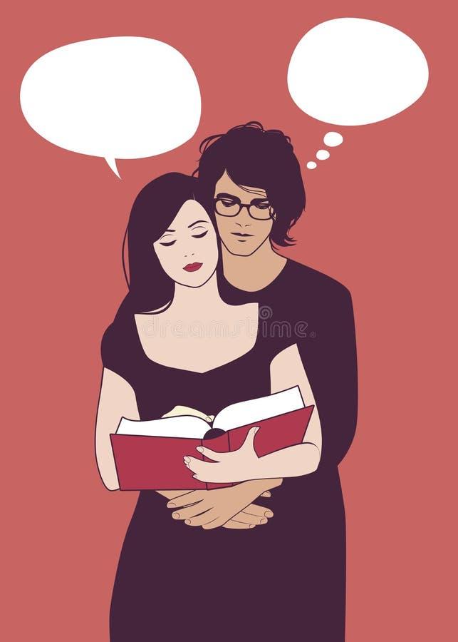 在拥抱的爱的年轻夫妇一起读书 库存例证