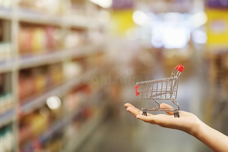 在拥有复制空间的购物商场,掌上小型杂货店。在拥有复制空间的购物商场,掌上小型杂货店。 图库摄影