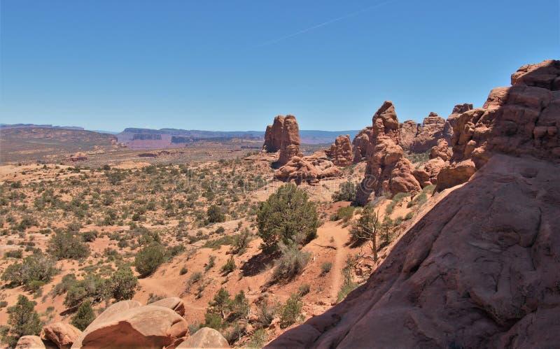 在拱门国家公园的岩层在犹他 免版税库存图片