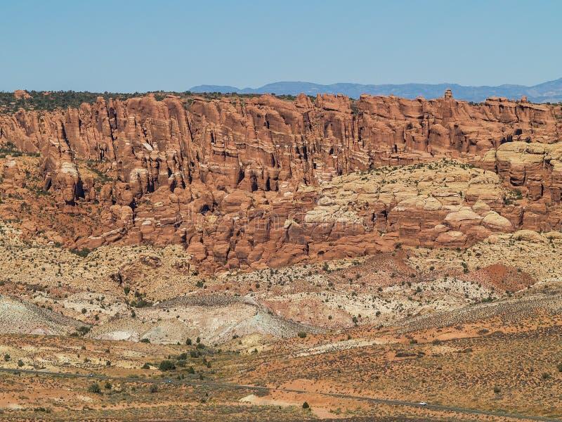 在拱门国家公园的岩层在犹他 免版税库存照片