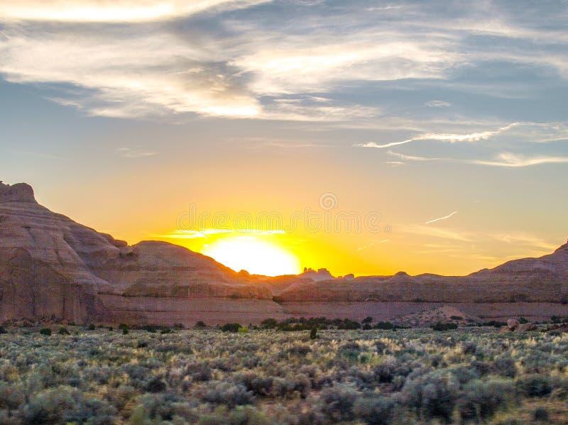 在拱门国家公园的日落在犹他 库存照片