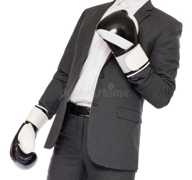 在拳击手套的商人 图库摄影