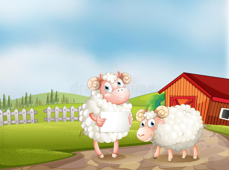在拿着一块空的牌的农场的一只绵羊 库存例证
