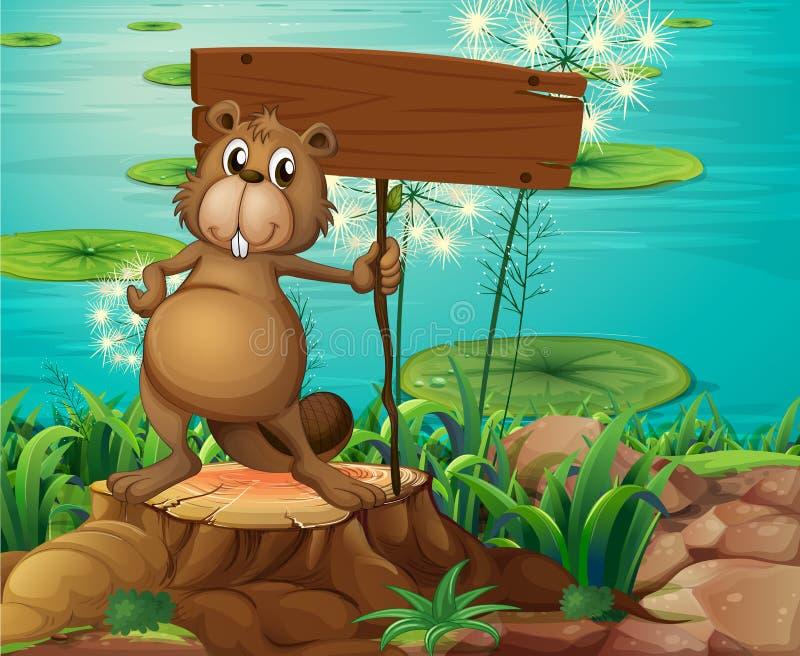 在拿着一块空的牌的树桩上的一个海狸 库存例证
