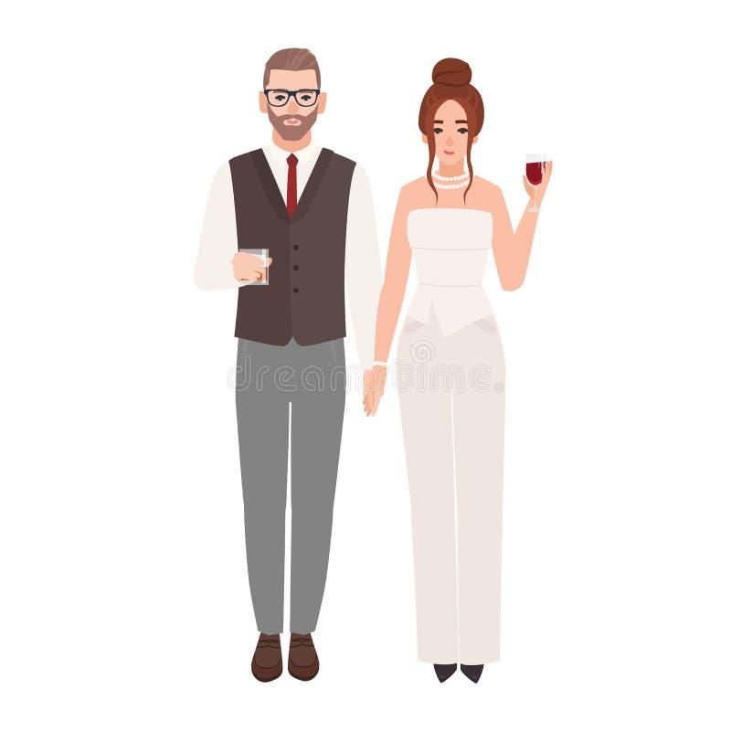 在拿着与饮料的豪华平衡的成套装备的典雅的浪漫夫妇玻璃隔绝在白色背景 时兴 库存例证