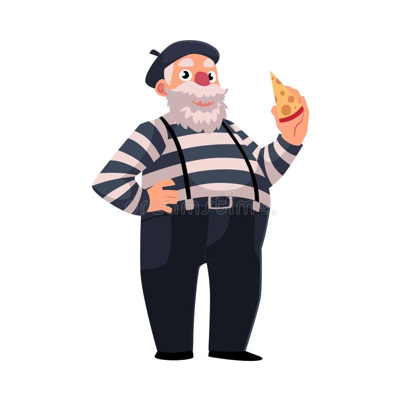 在拿着乳酪的传统衣物的灰发,肥胖法国笑剧 向量例证