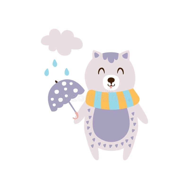 在拿着伞的围巾的紫罗兰色猫在秋天站立的直立的东西被赋予人性的动物字符例证的雨下  库存例证