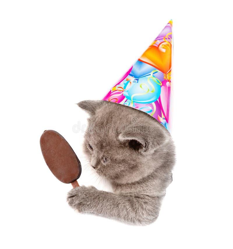 在拿着冰棍的生日帽子的小猫偷看在纸的一个孔外面 背景查出的白色 免版税库存图片