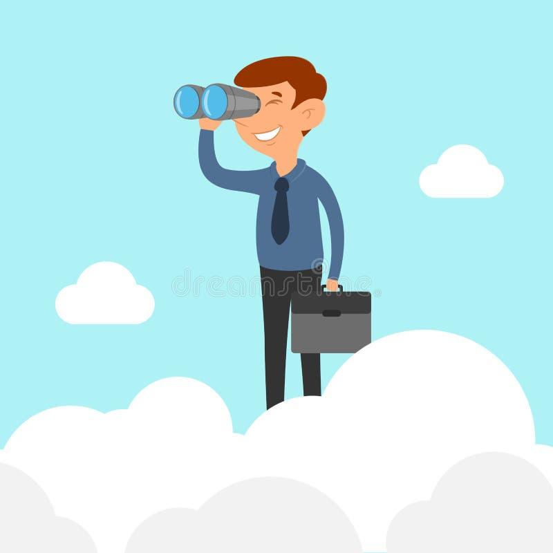 在拿着双筒望远镜的云彩的商人 库存例证