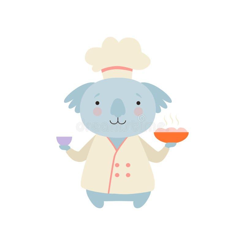 在拿着可口盘,动画片动物字符的厨师制服的逗人喜爱的树袋熊烹调在白色的传染媒介例证 向量例证