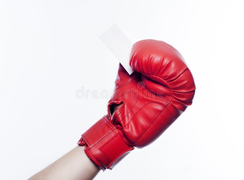 在拿着名片的拳击手套的手 免版税库存照片