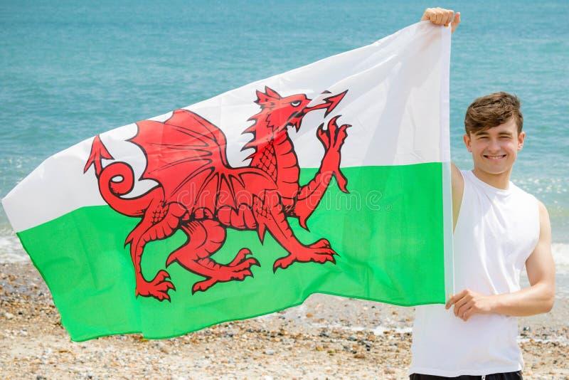 在拿着威尔士旗子的海滩的白种人男性 库存图片