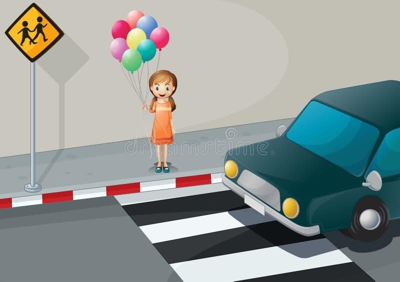 在拿着气球的步行车道附近的一个女孩 库存例证