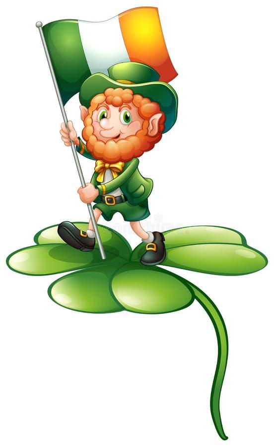 在拿着爱尔兰的旗子的三叶草植物上的一个人 皇族释放例证