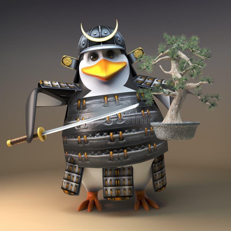 在拿着盆景树和katana剑,3d的3d的高尚的企鹅战士武士字符例证 向量例证