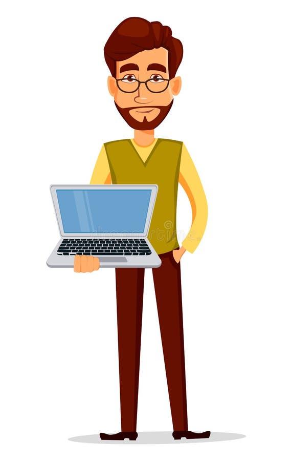 在拿着膝上型计算机的巧妙的便衣的年轻英俊的商人 向量例证