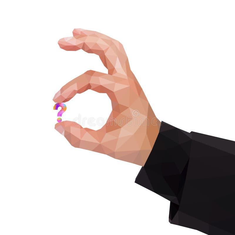 在拿着问号的两个手指之间的男性多角形手 库存例证
