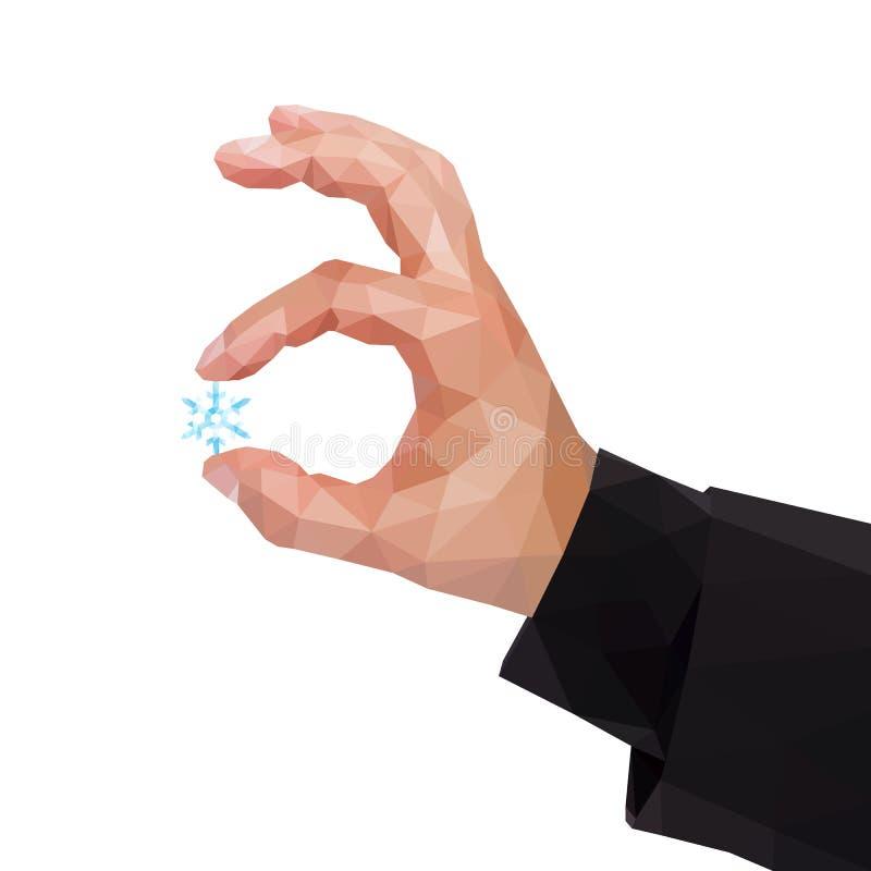 在拿着雪花的两个手指之间的男性多角形手 向量例证