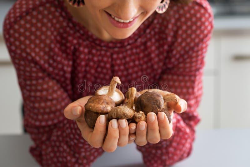 在拿着什塔克菇的主妇的特写镜头 库存照片