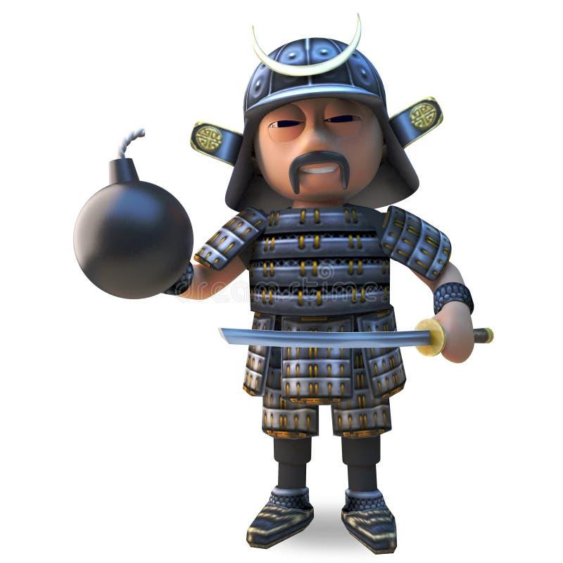 在拿着katana剑和火药炸弹,3d的传统装甲的高尚的日本武士warrion例证 皇族释放例证