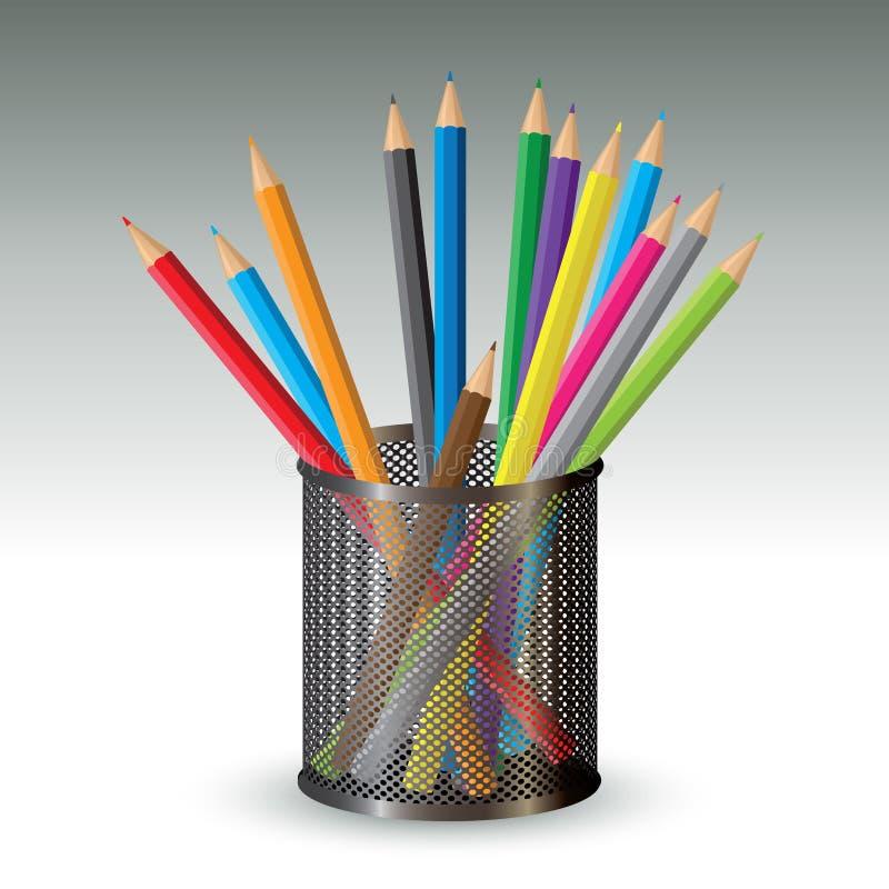 在持有人的颜色铅笔 皇族释放例证