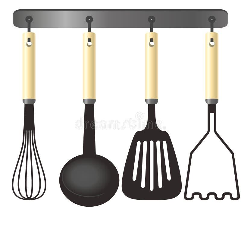 在挂衣架的厨房工具 库存例证