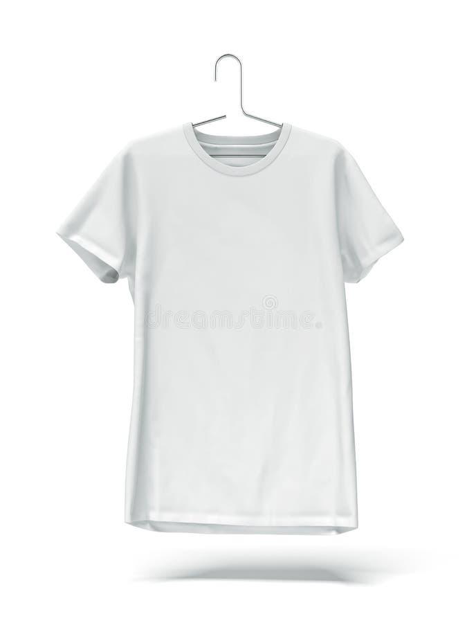 在挂衣架的白色T恤杉 向量例证